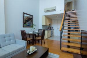 One Rockwell - 1 Bedroom apartment - lounge, kitchen & mezzanine